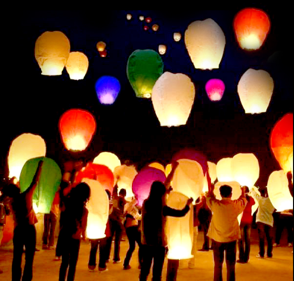 rainbow sky lanterns