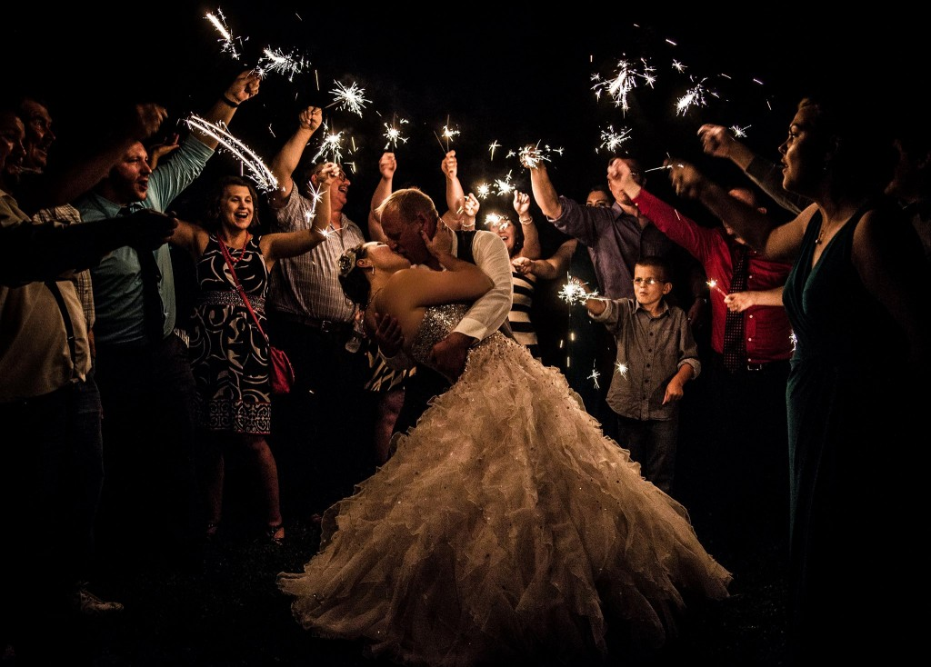 Kelly & Ryan's Fairy Tale Wedding Exit with Sparklers | Photo by Jamie Lynn Photography