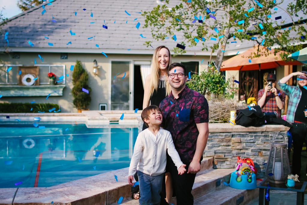 Gender reveal confetti blast!