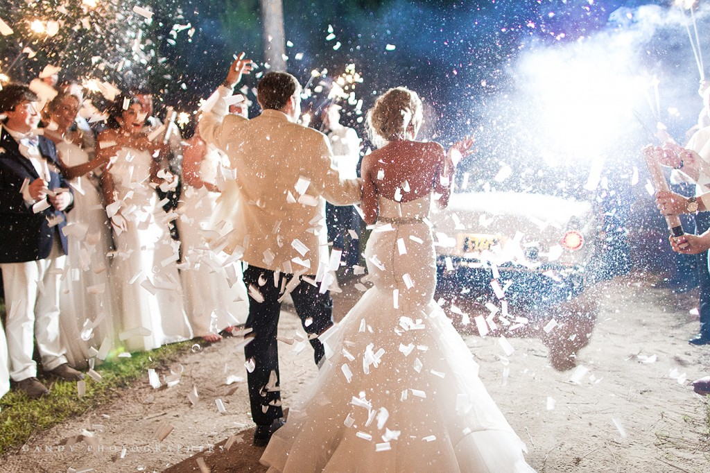 Cary Anne & Ben's Wedding Confetti Exit | Photo by Gandy Photographers