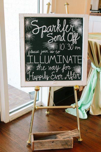 Darling chalkboard sparkler sendoff sign.