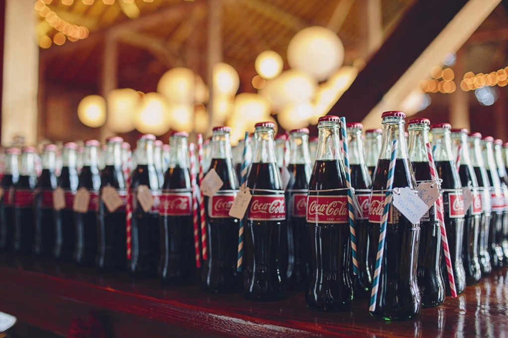 Serve Coca Cola bottles at a July 4th Wedding