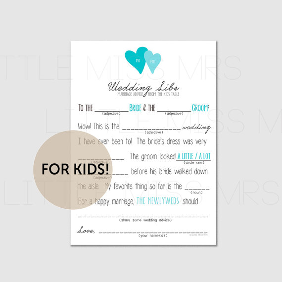 Activities for kids at wedding: Mad Libs