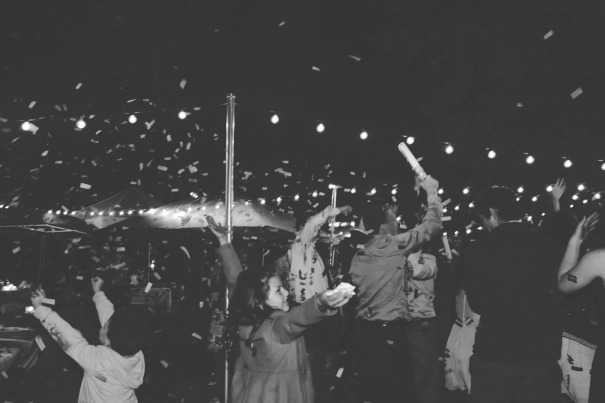 Wedding confetti cannons used on the dance floor