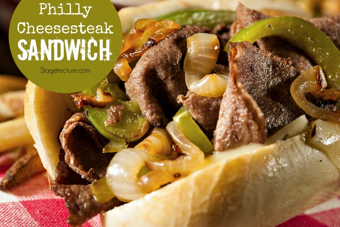 Homemade Philly Cheesesteak Sandwich with Onions and Peppers