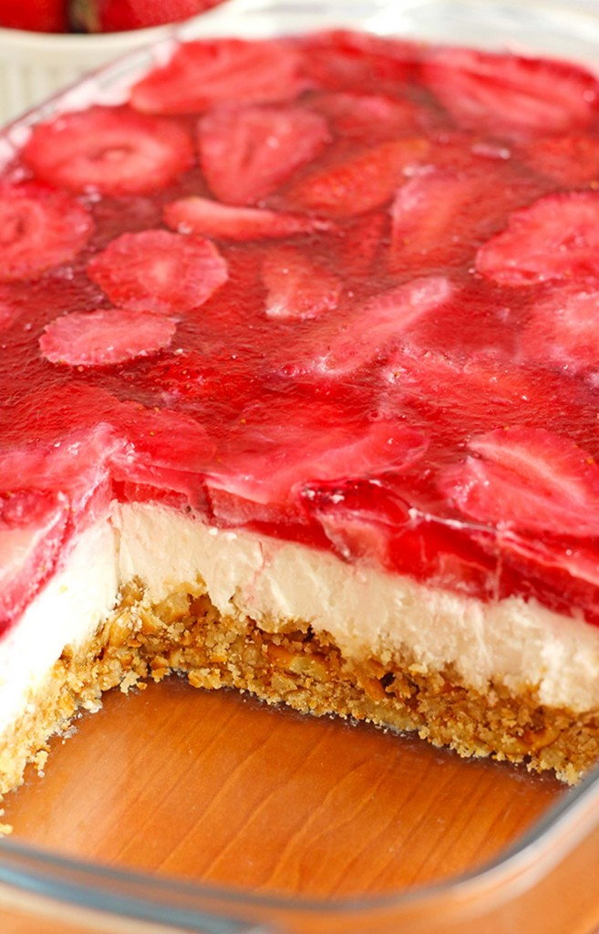 Strawberry Pretzel Dessert recipe available at Sugar Apron
