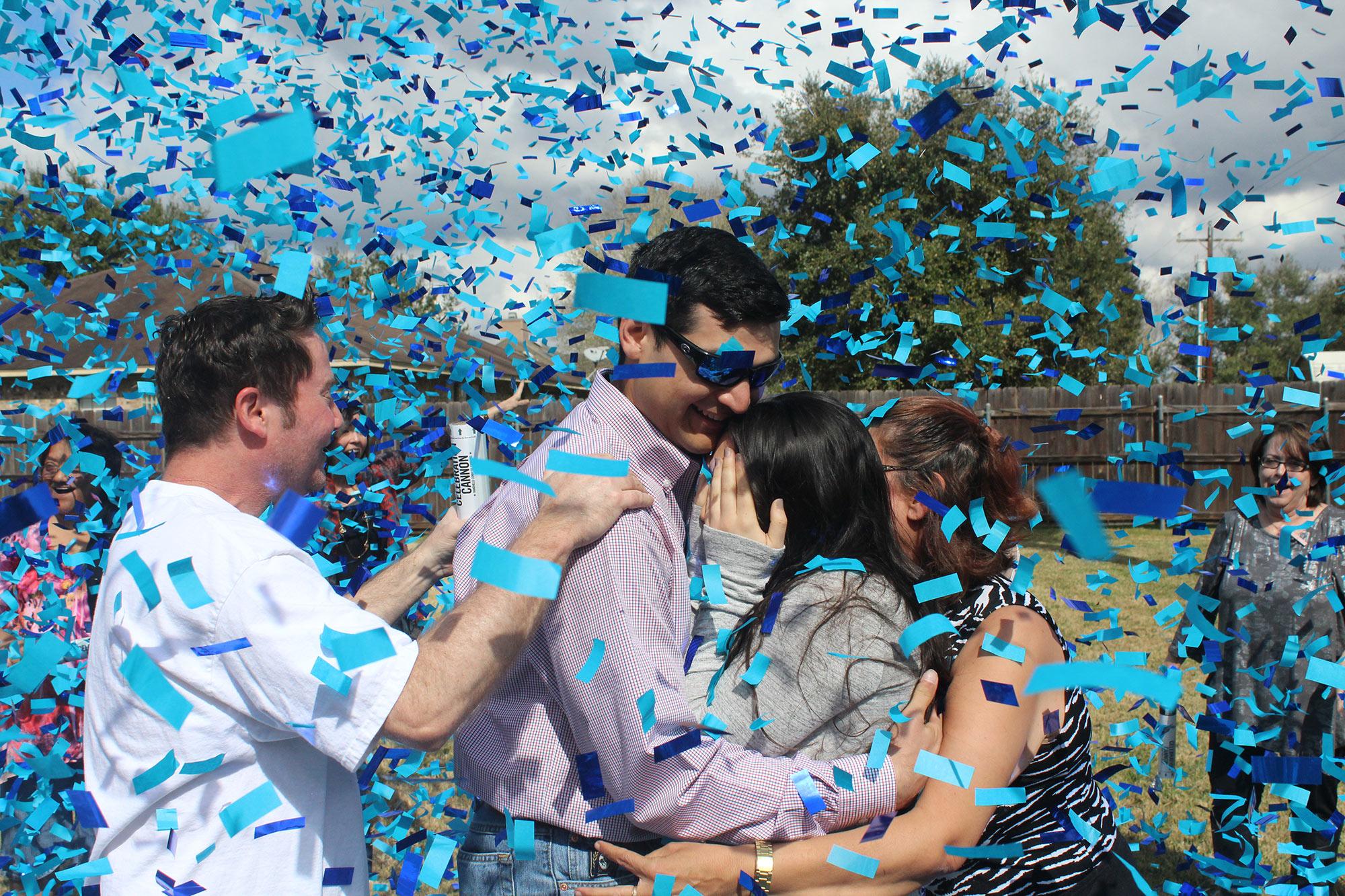 Color Powder Gender Reveal >> Gender Reveal Confetti Cannon Kit – 2 Blue, 2 Pink – Superior Celebrations